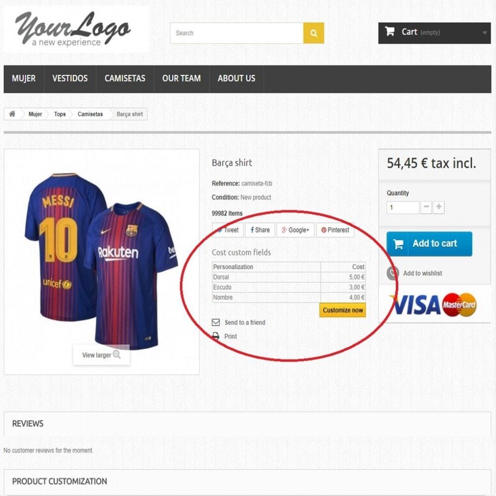 module - Combinaciones y Personalización de productos - Campos personalizados con precio - 5