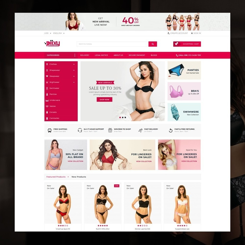 theme - Lingerie & Adultos - Piixy - Lingerie & Adult Shop - 2