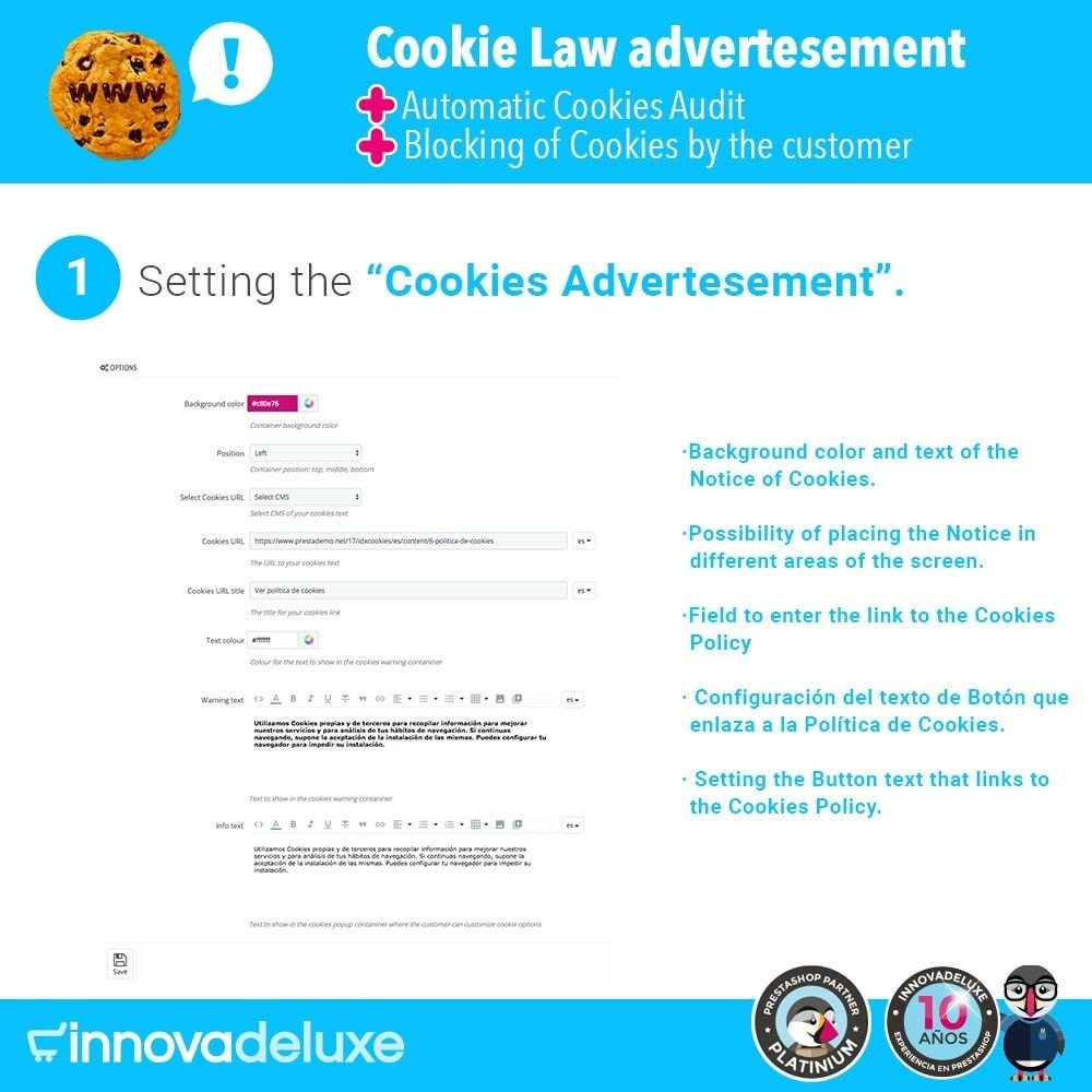 module - Wzmianki prawne - GDPR Cookies Law (Advice - Audit - Blocking) - 2