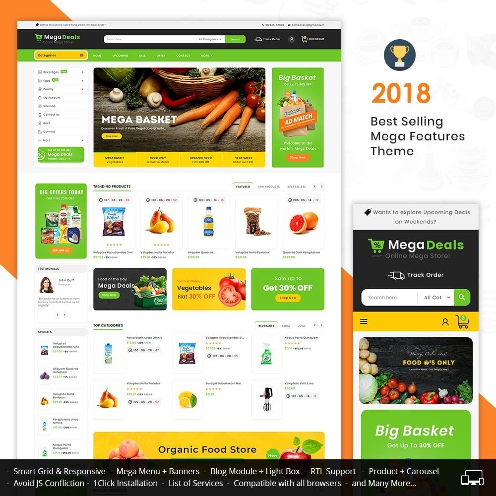 theme - Food & Restaurant - Mega Deals Organic Grocery - 1