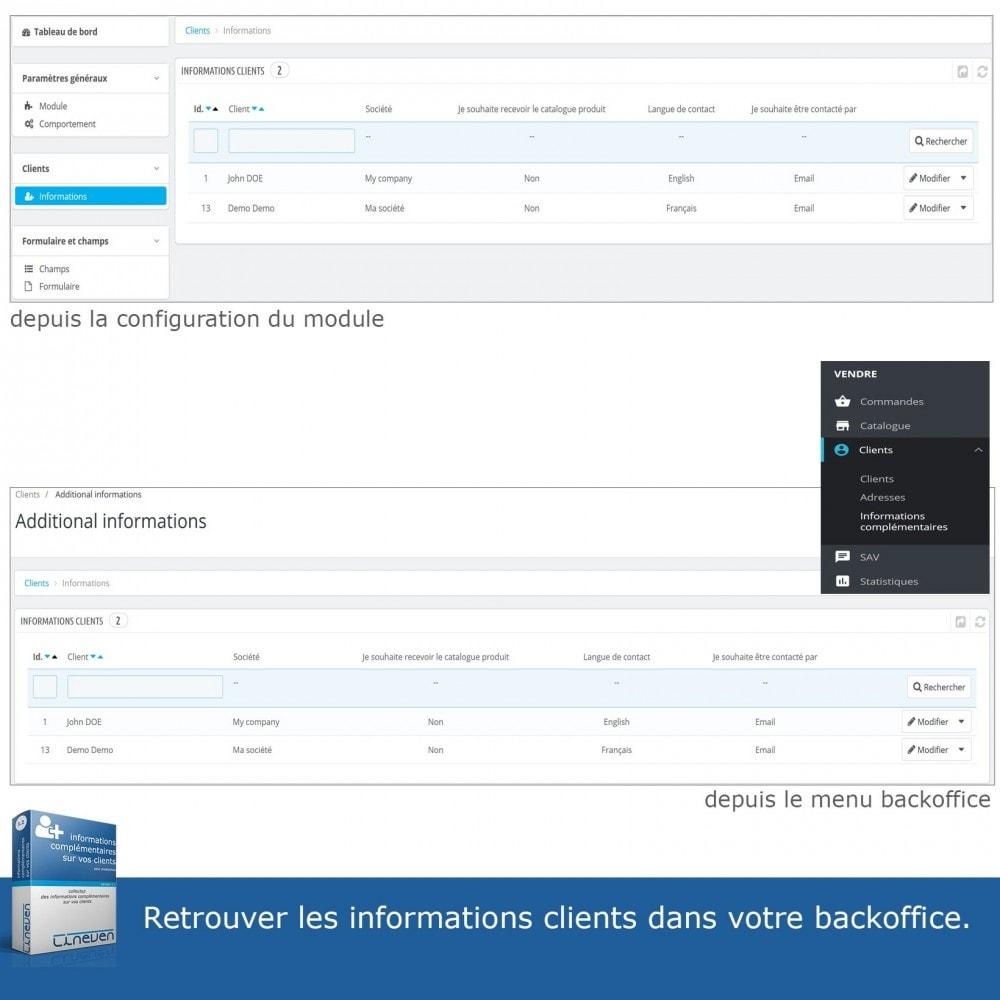 module - Inscription & Processus de commande - Informations Complémentaires sur vos Clients - 7