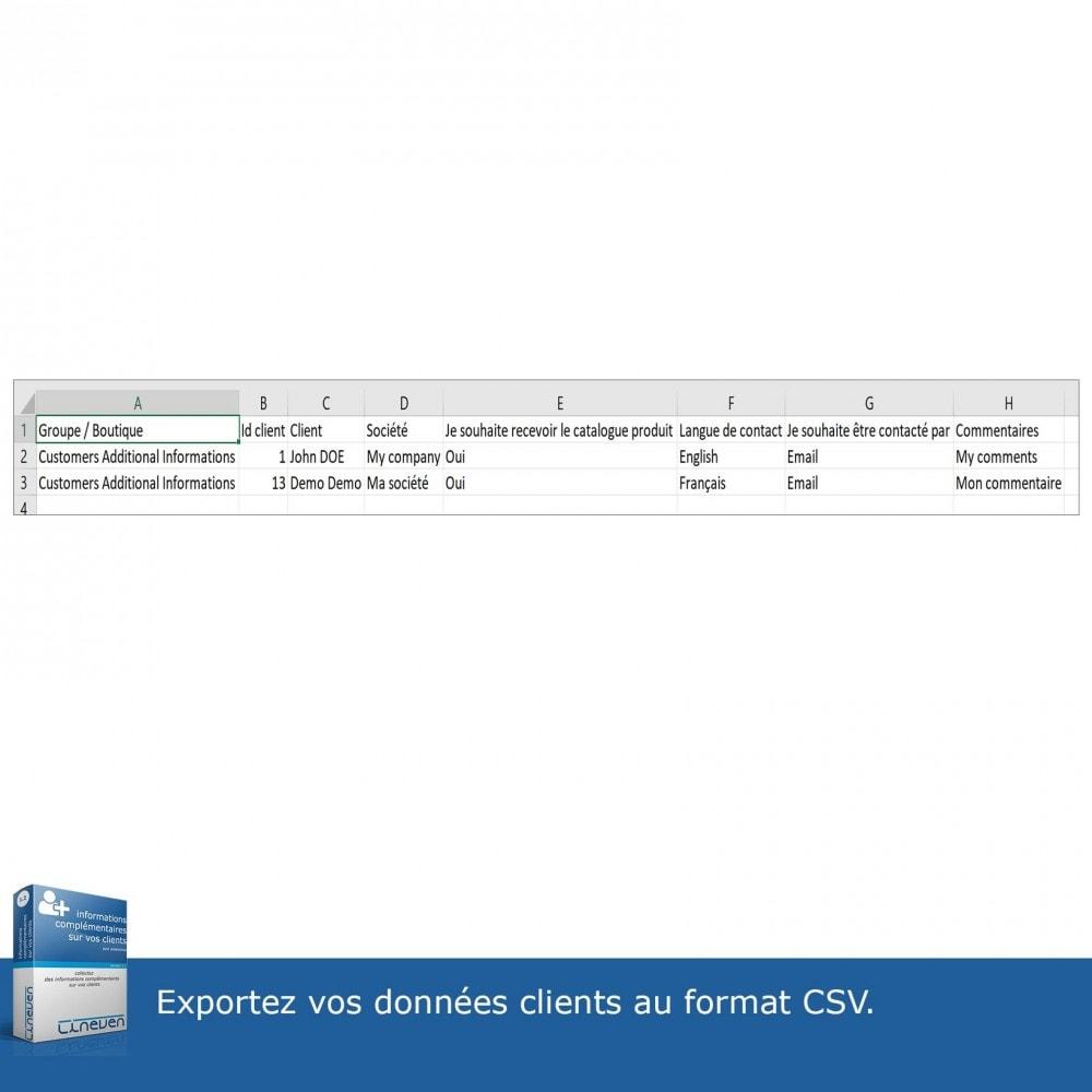 module - Inscription & Processus de commande - Informations Complémentaires sur vos Clients - 10