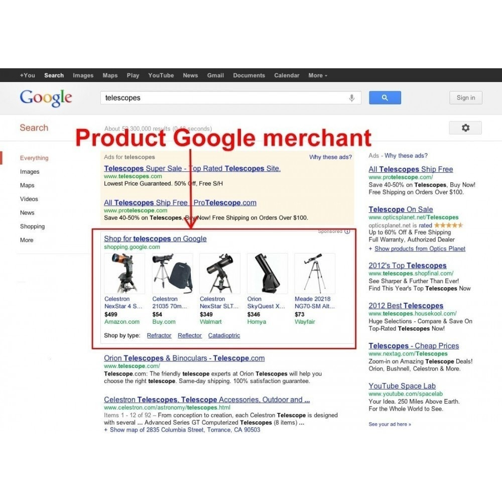 module - Comparateurs de prix - Exporter des produits dans Google Merchant Shopping - 2