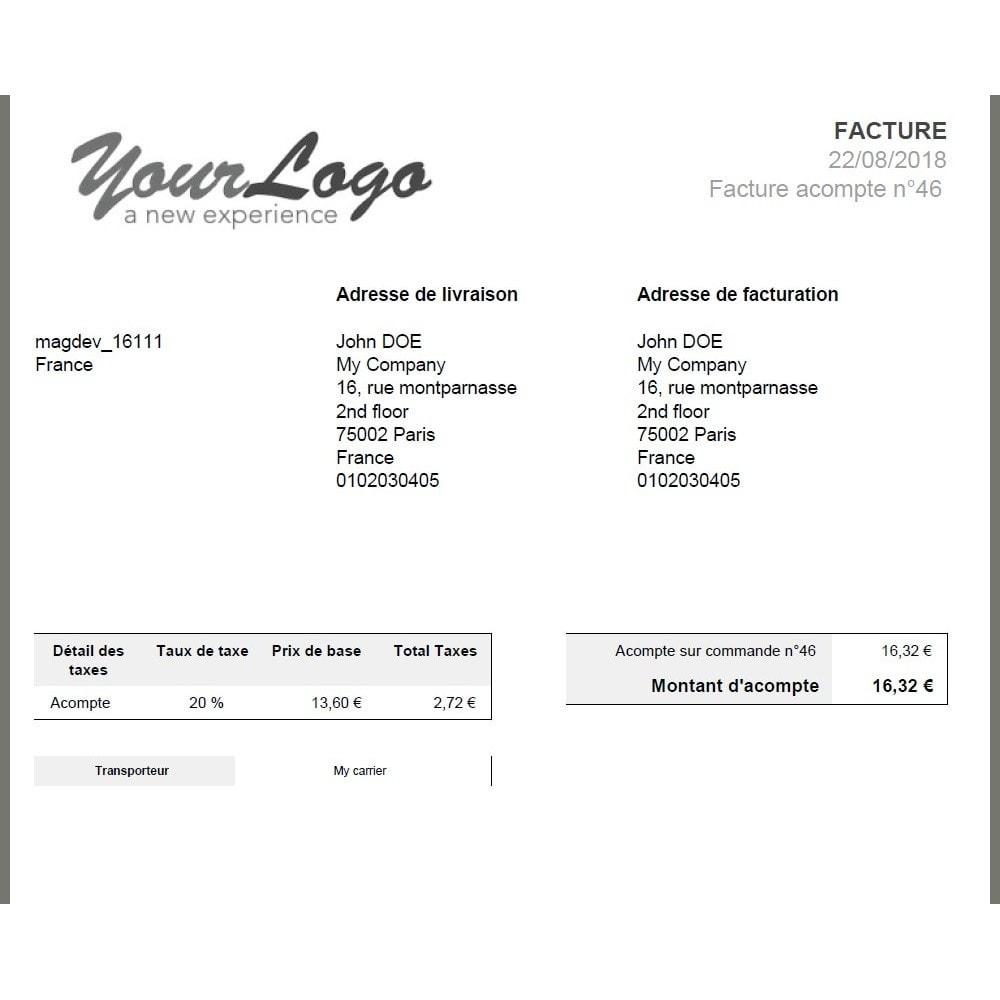 module - Autres moyens de paiement - Module d'acompte avec facture d'acompte - 7