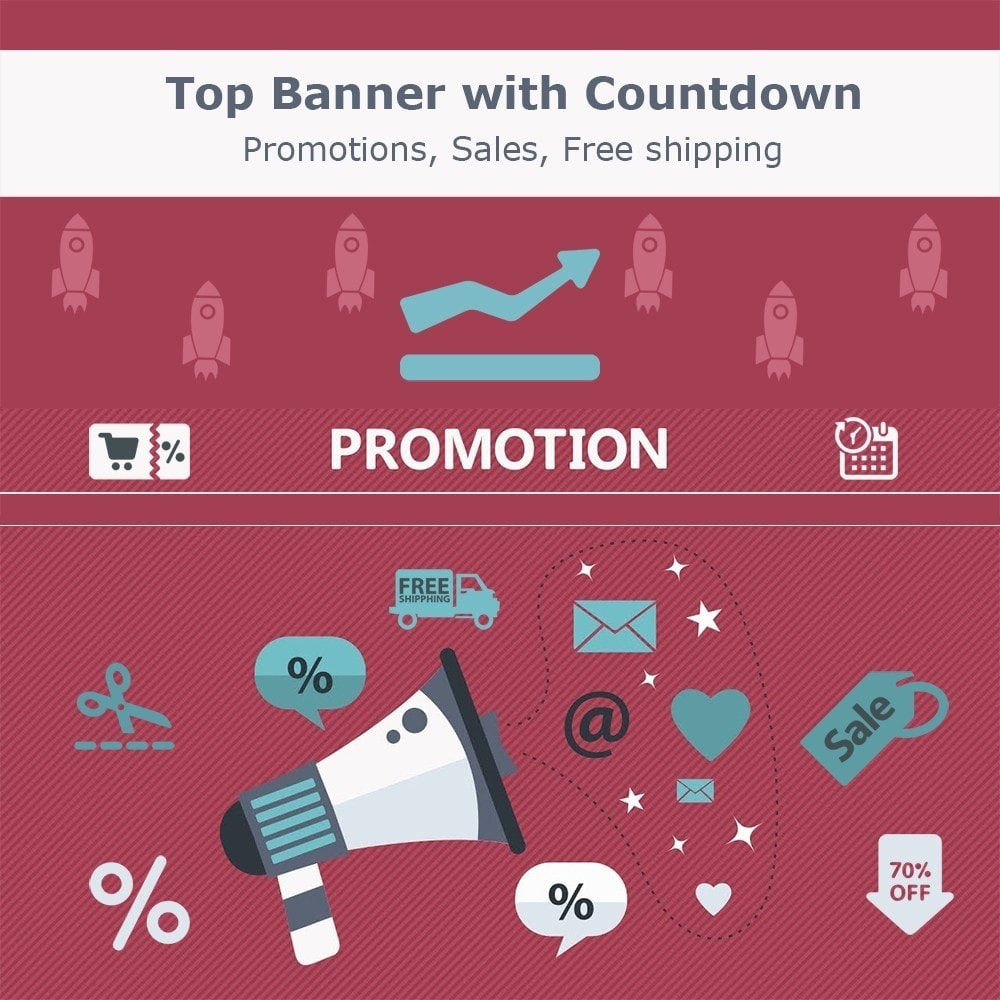 module - Promotions & Cadeaux - Top banner. Promotions, Sales, Free shipping, Countdown - 1