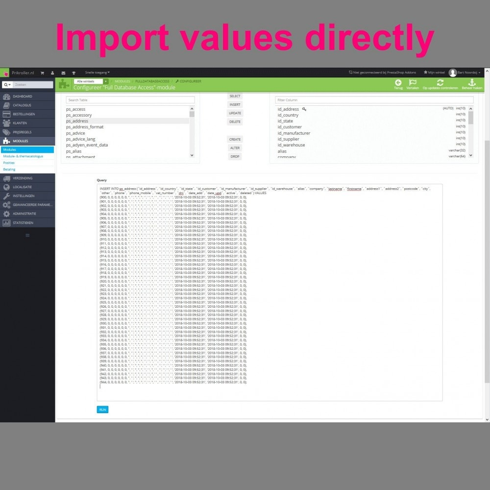 module - Importación y Exportación de datos - Full Database Access - 8