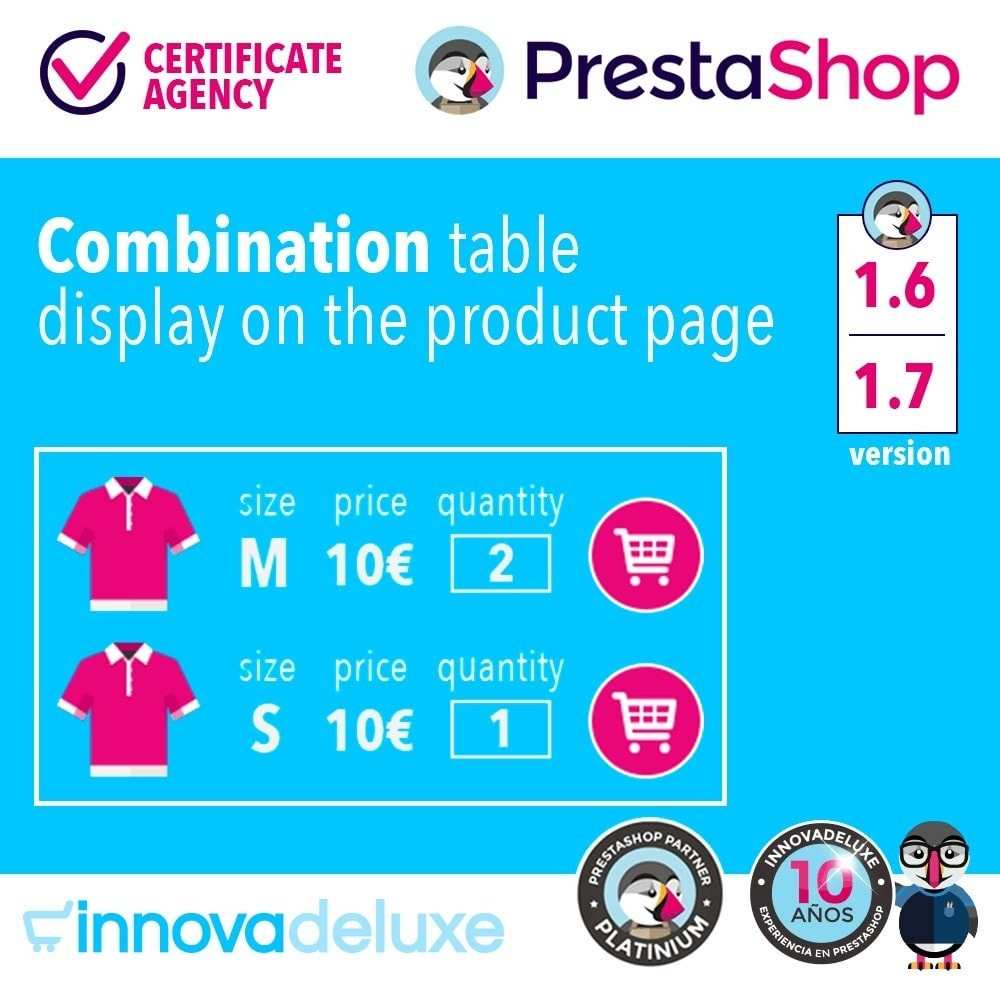 module - Deklinacje & Personalizacja produktów - Product data sheet with combination table - 1