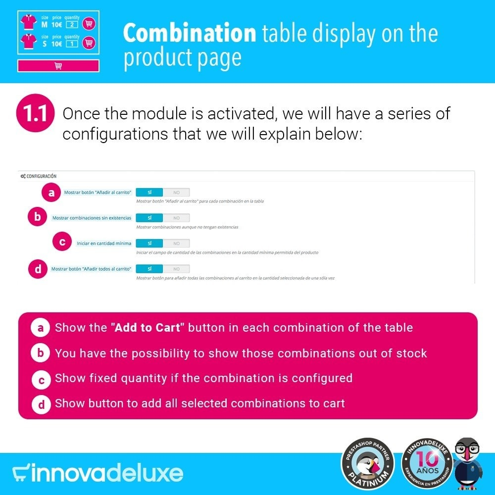 module - Combinations & Product Customization - Product data sheet with combination table - 2