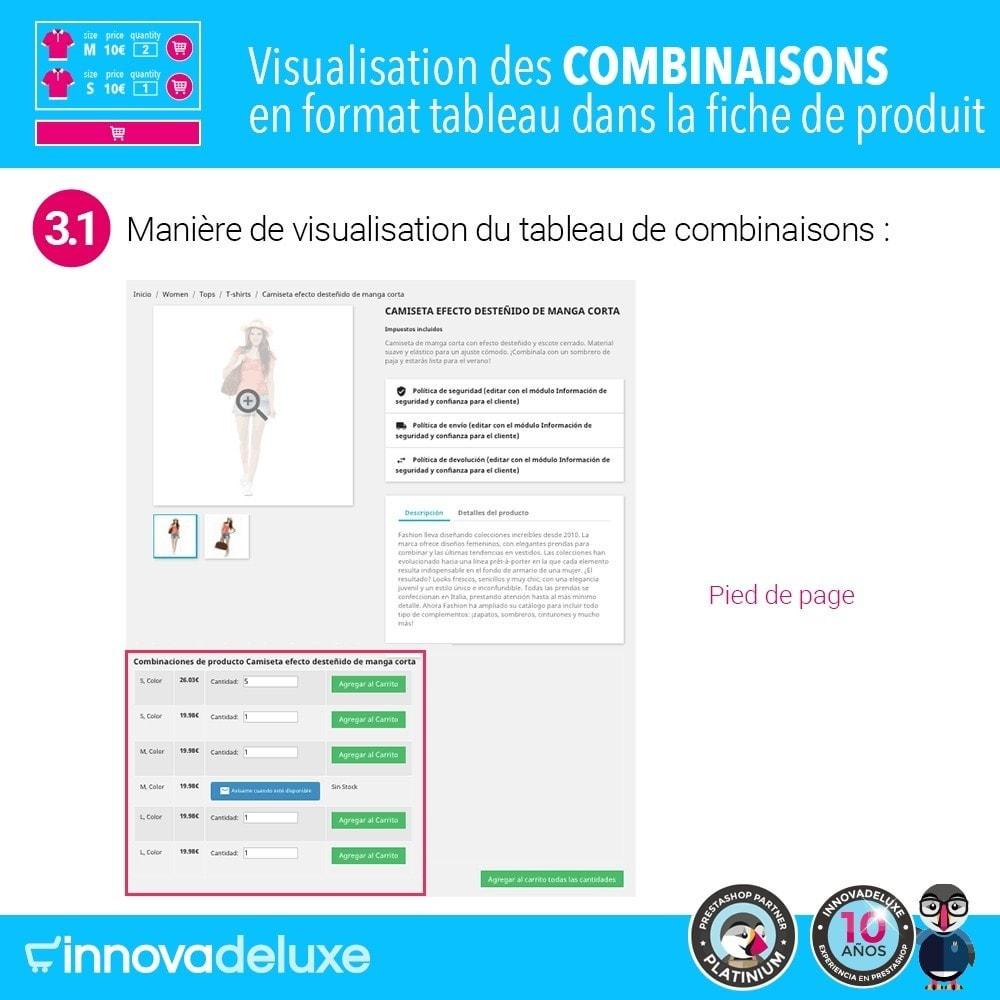module - Déclinaisons & Personnalisation de produits - Fiche de produit avec tableau de combinaisons - 6