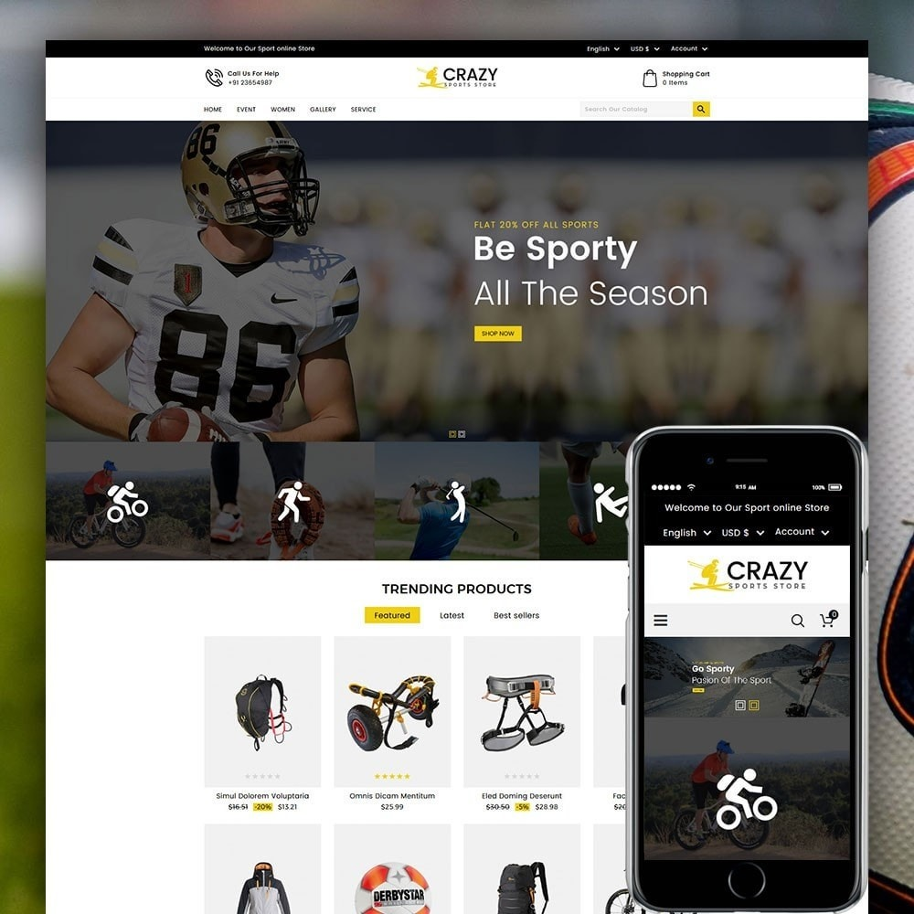 theme - Sports, Activities & Travel - Crazy Sports Store - 1