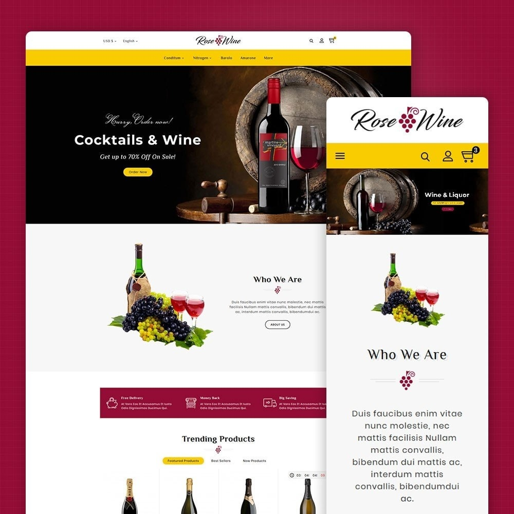 theme - Drink & Wine - Rose Wine Store - 1