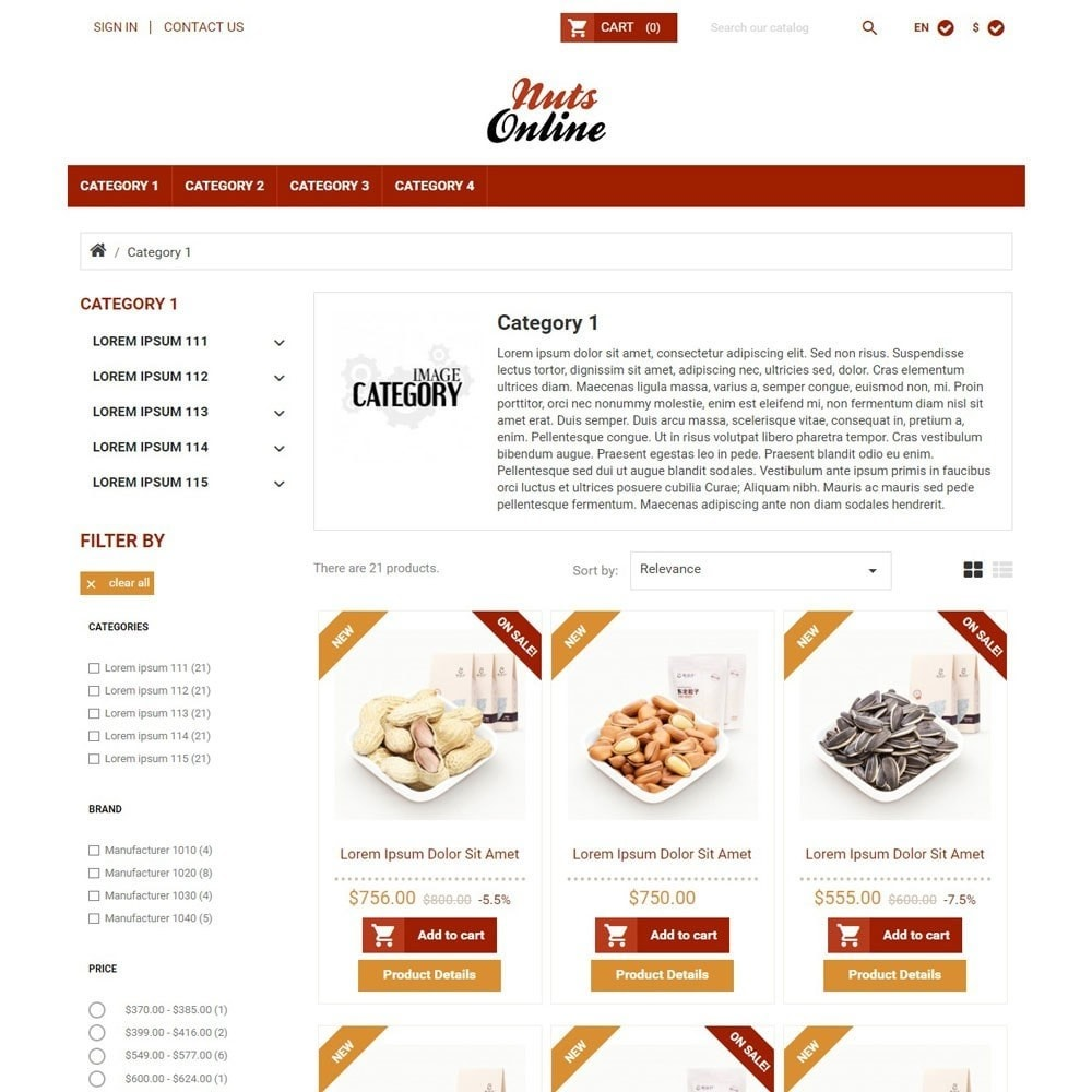 theme - Żywność & Restauracje - NutsOnline - 2
