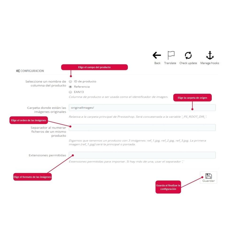 module - Informaciones adicionales y Pestañas - Importar Imágenes de Producto - 3