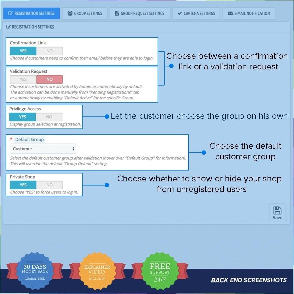 module - Inscription & Processus de commande - Enregistrement de groupes de clients PRO - 8