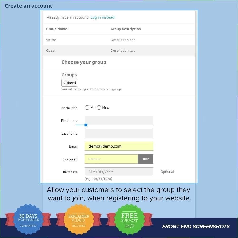module - Inscripción y Proceso del pedido - Registro de Grupos de Clientes PRO - 2