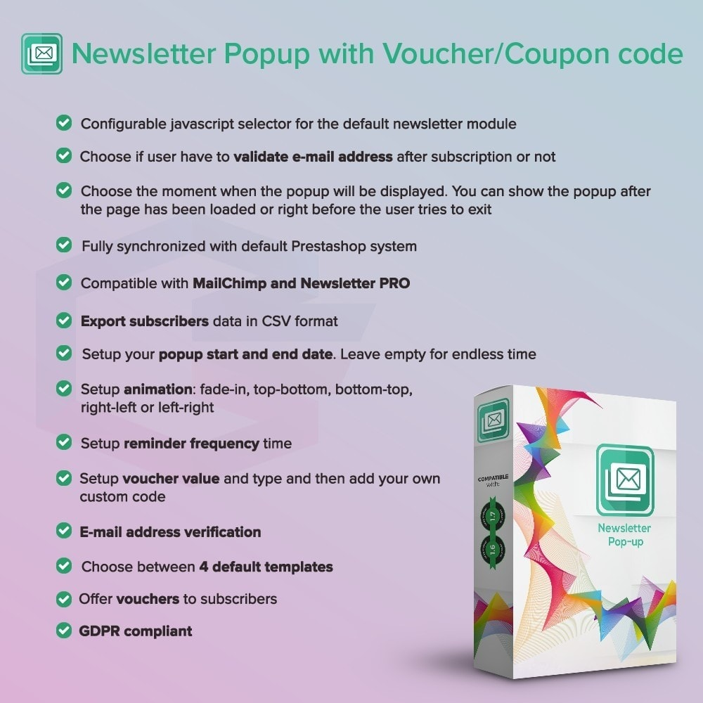 module - Newsletter & SMS - Newsletter Popup PRO con il codice per Voucher/Coupon - 1