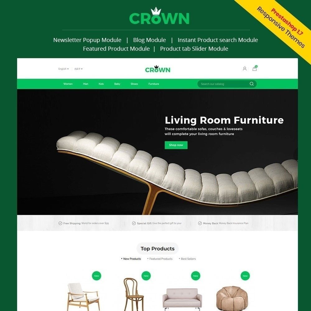 Thème de magasin de meubles de couronne