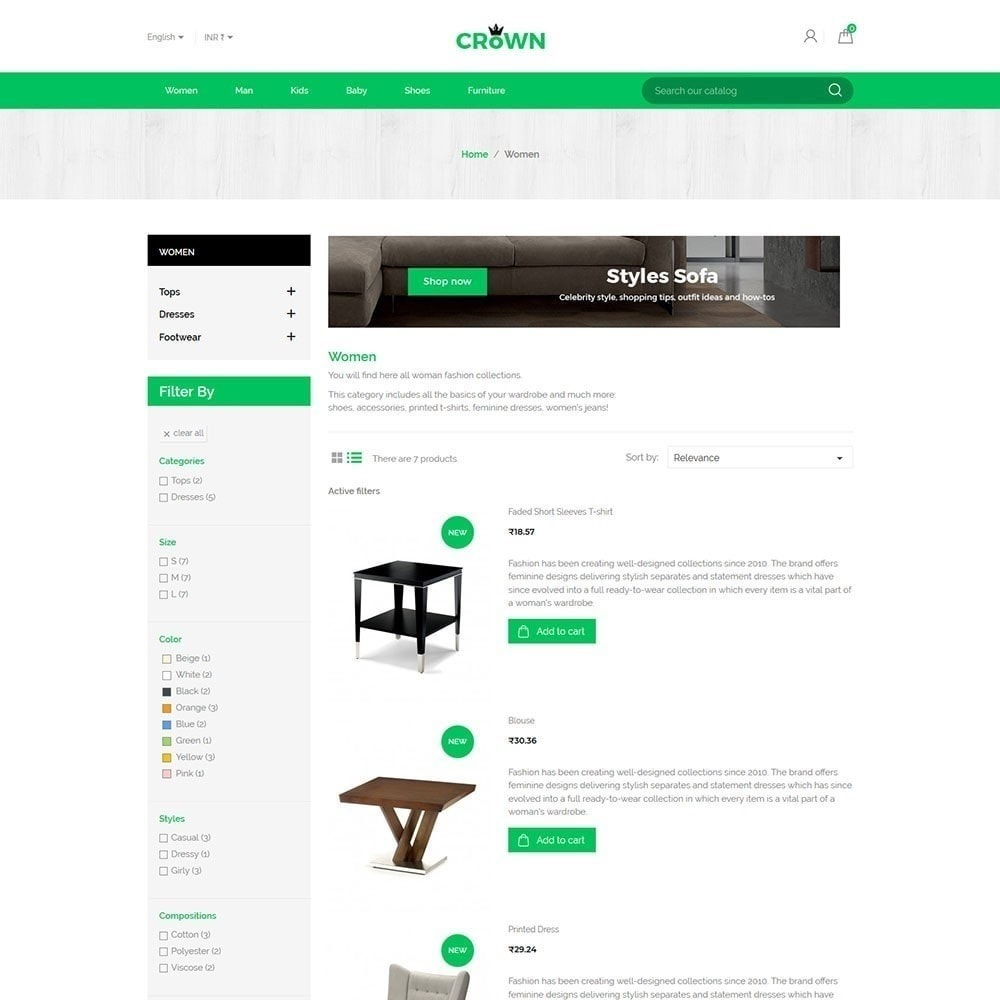 Crown Furniture Store Theme