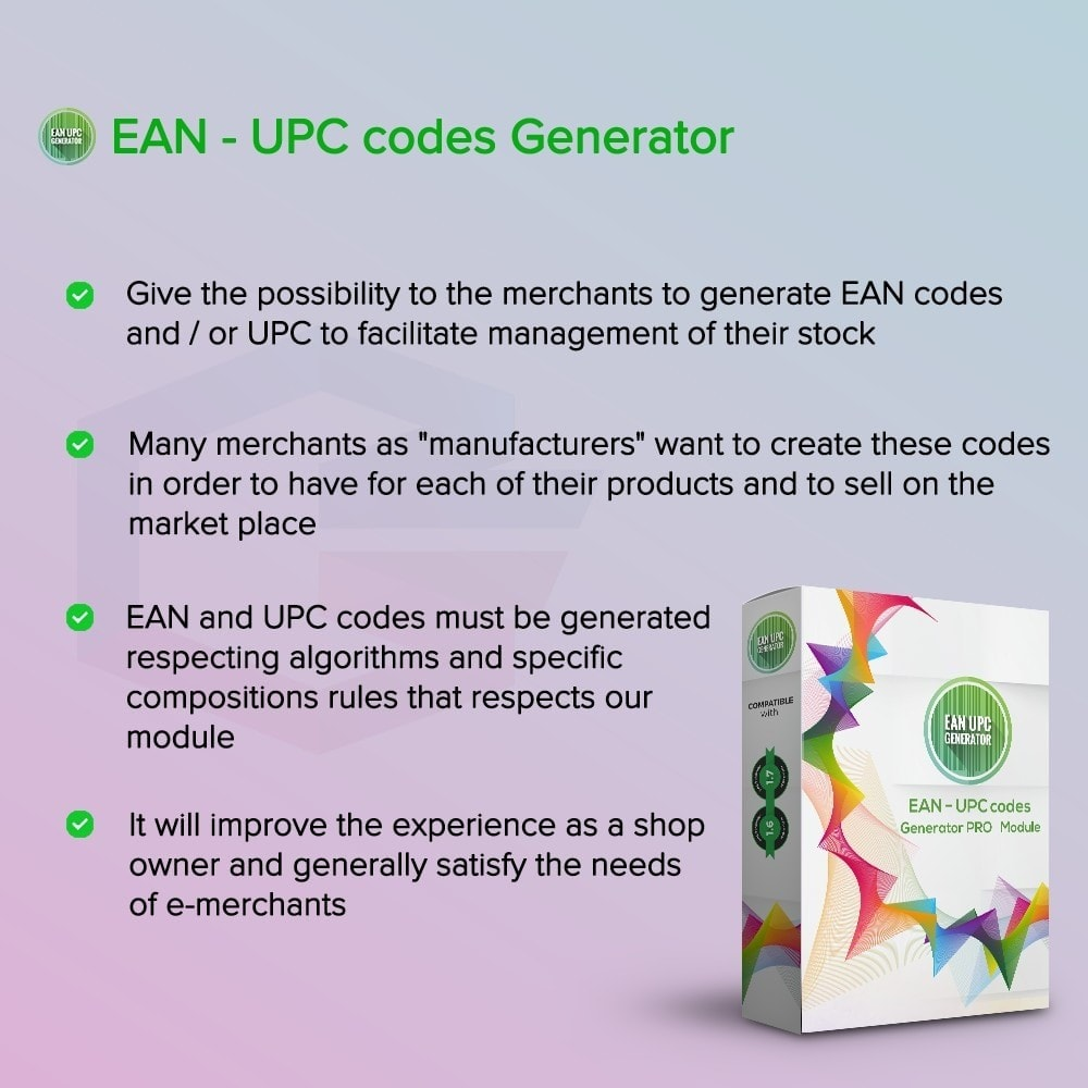 module - Gestion des Stocks & des Fournisseurs - Générateur de codes EAN-UPC PRO - 1
