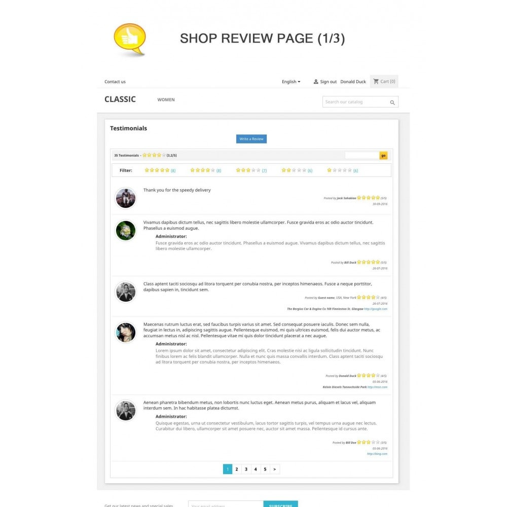 module - Comentarios de clientes - Shop Reviews + Avatars + Reminder + Rich Snippets - 1