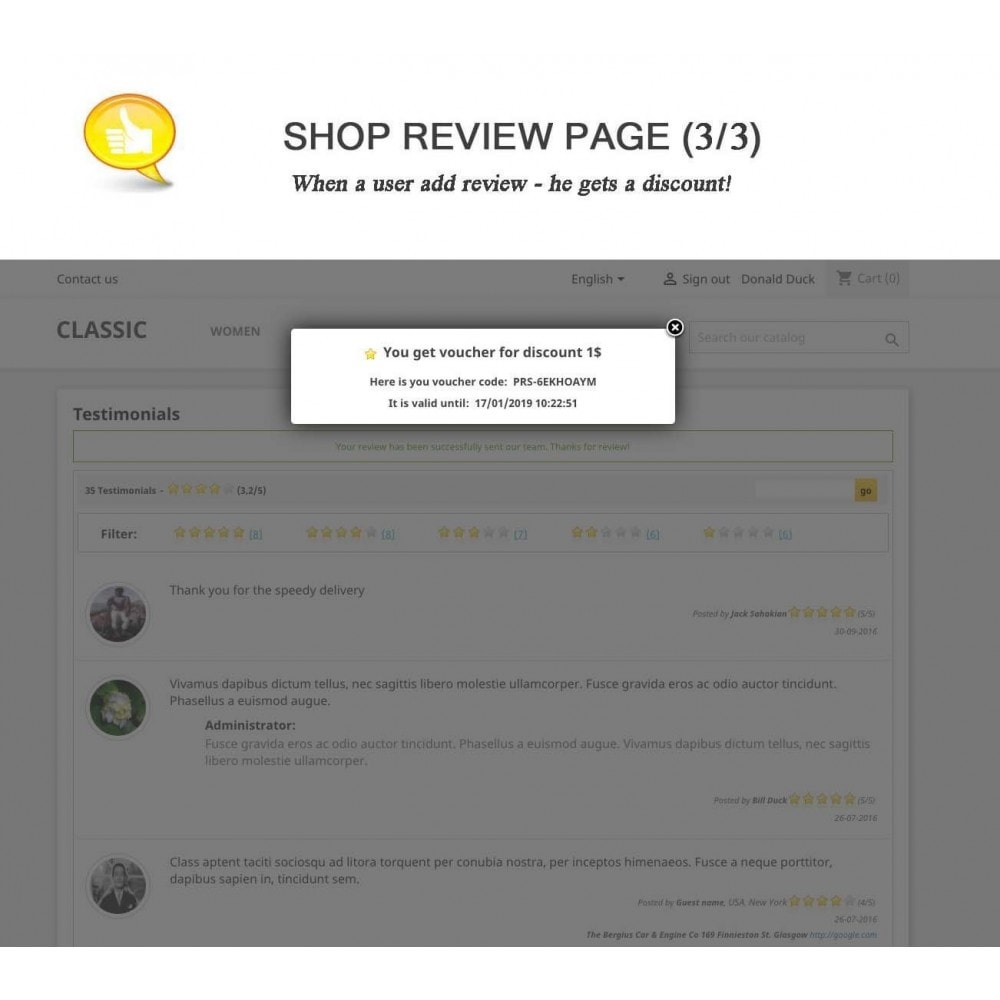 module - Comentarios de clientes - Shop Reviews + Avatars + Reminder + Rich Snippets - 3