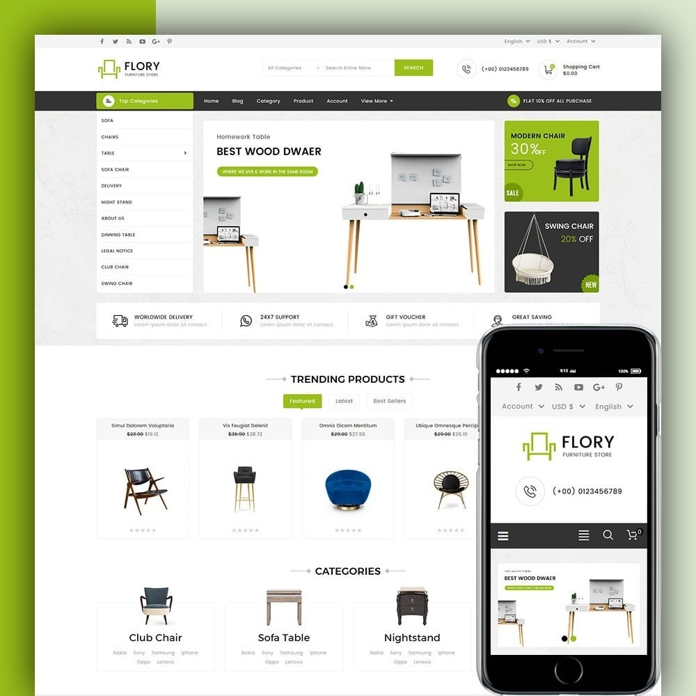 theme - Home & Garden - Flory Wood and Furniture Store - 1