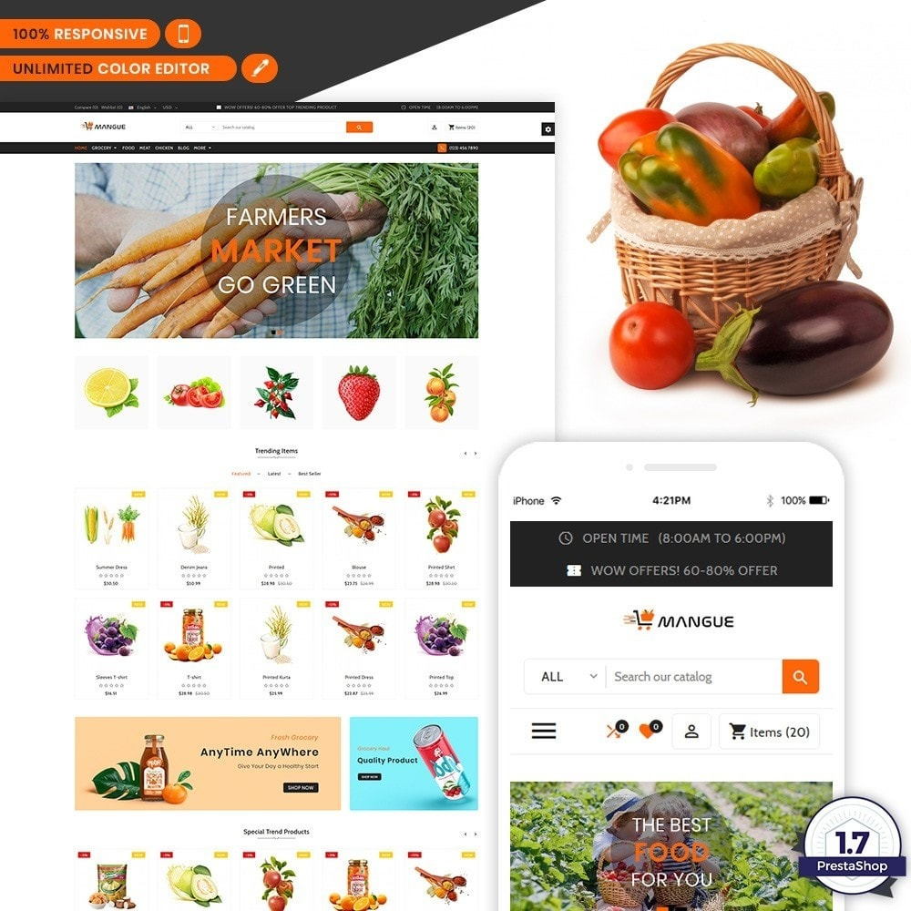 theme - Alimentation & Restauration - Mangue - Instant Grocery Food Shop - 1