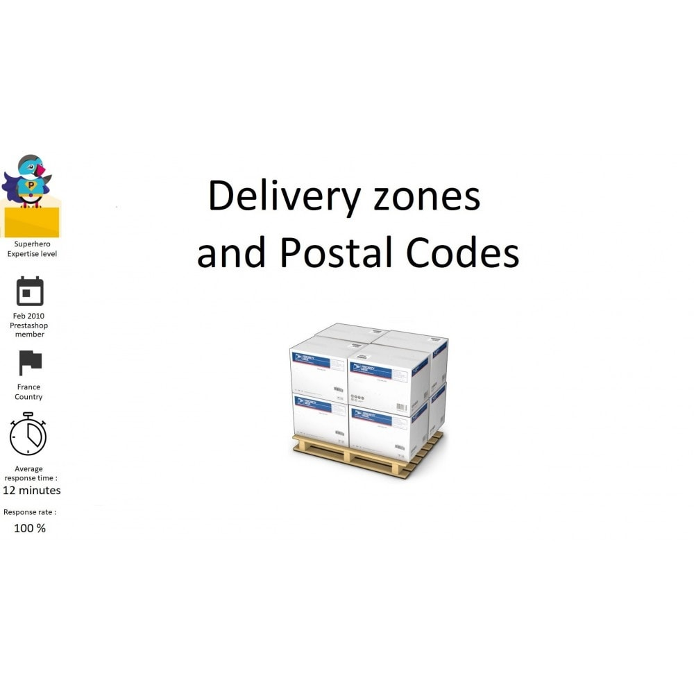 module - Shipping Costs - Delivery zones and Postal Codes, departments, regions - 1