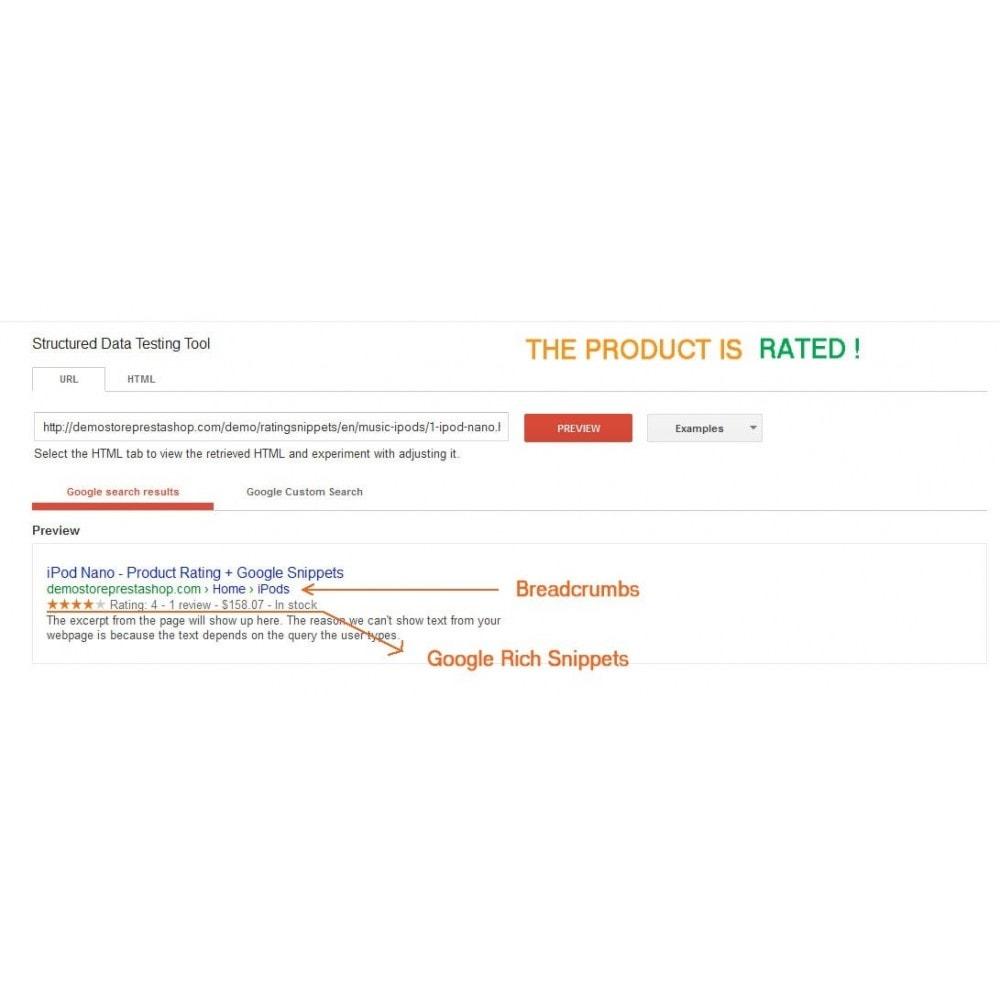module - SEO (référencement naturel) - Note du produit + Snippets, Breadcrumb, Rich Pins - 2
