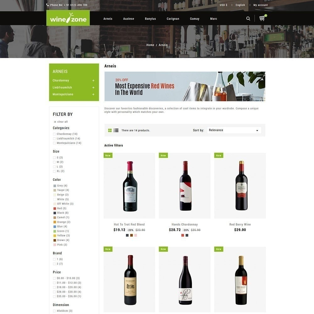 theme - Food & Restaurant - Winezone - Wine Store - 2