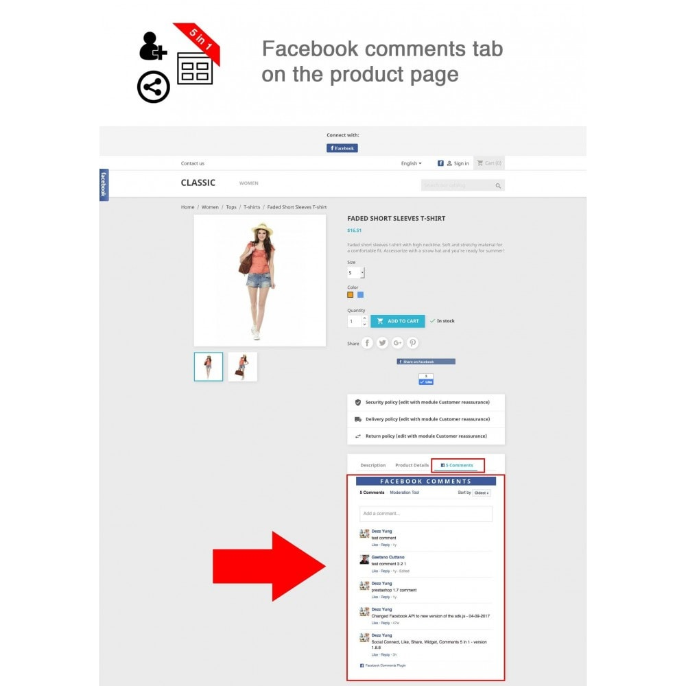 module - Share Buttons & Comments - Social Connect, Like, Share, Widget, Comments 5 in 1 - 2