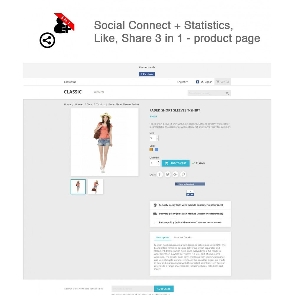 module - Login & Verbinden - Social Connect + Statistics, Like, Share 3 in 1 - 1