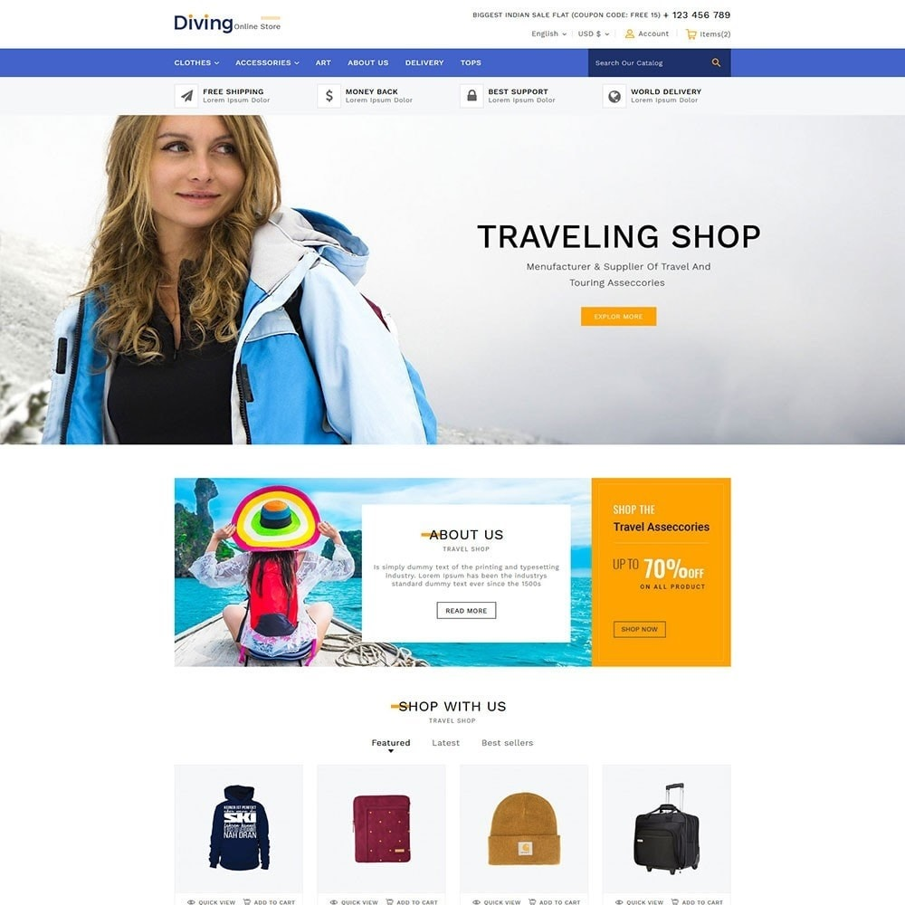 theme - Sports, Activities & Travel - Diving Online Travel Store - 2