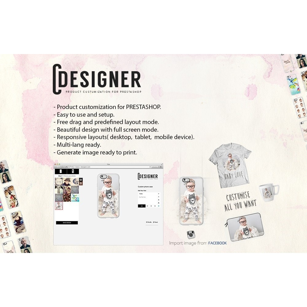 module - Versies & Personalisering van producten - Product Customization Designer - Cdesigner Customize - 1