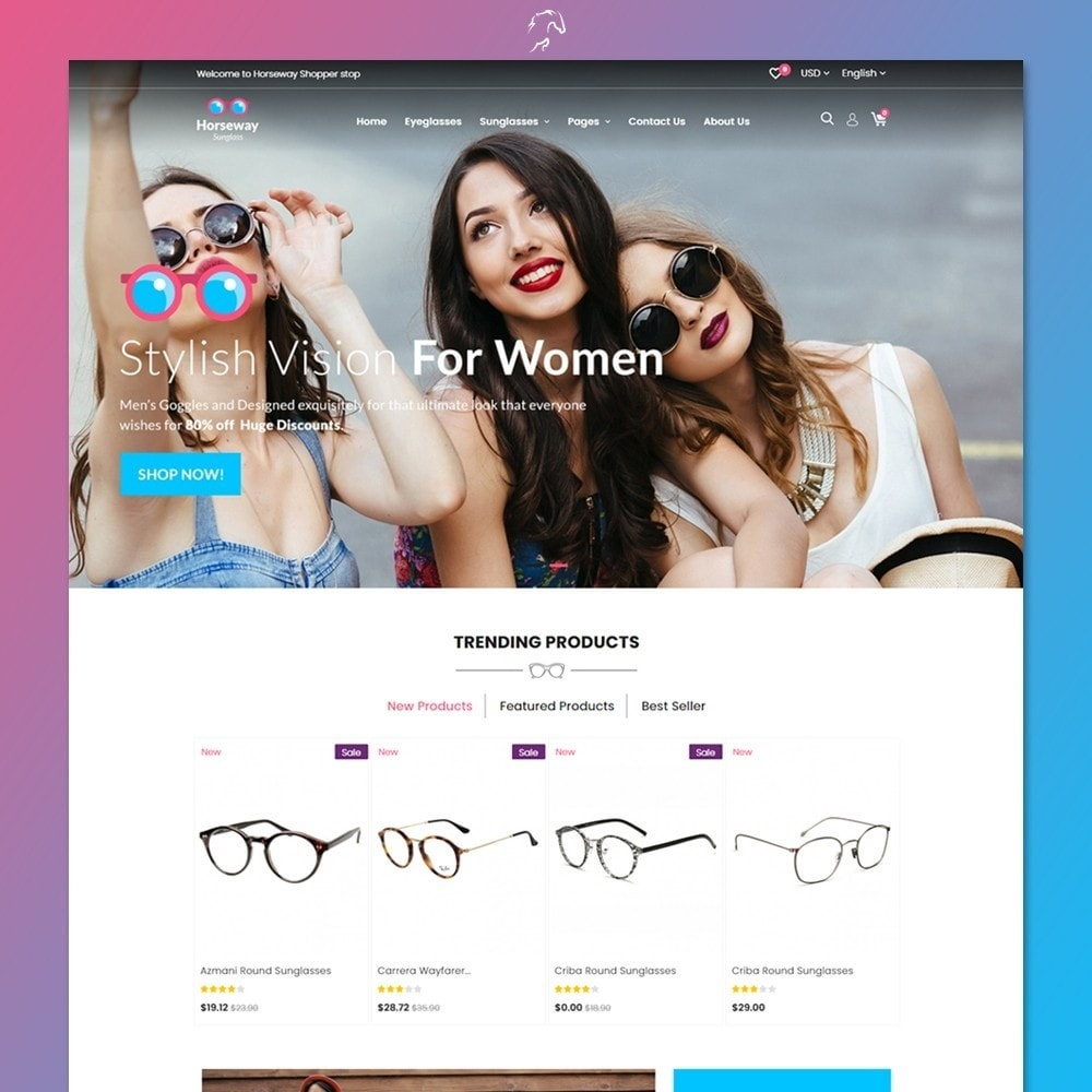 theme - Fashion & Shoes - Horseway Sunglass Ecommerce Shop - 2