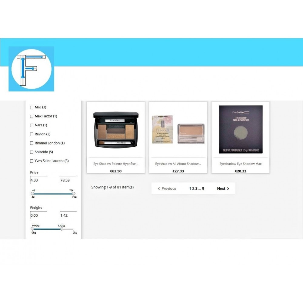 module - Búsquedas y Filtros - Slider range filters - Eshop Filters Price & Weight - 2