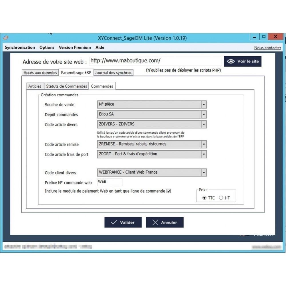 module - Connexion à un logiciel tiers (CRM, ERP...) - XY-Connect Lite Commandes - Sage 100 - 3
