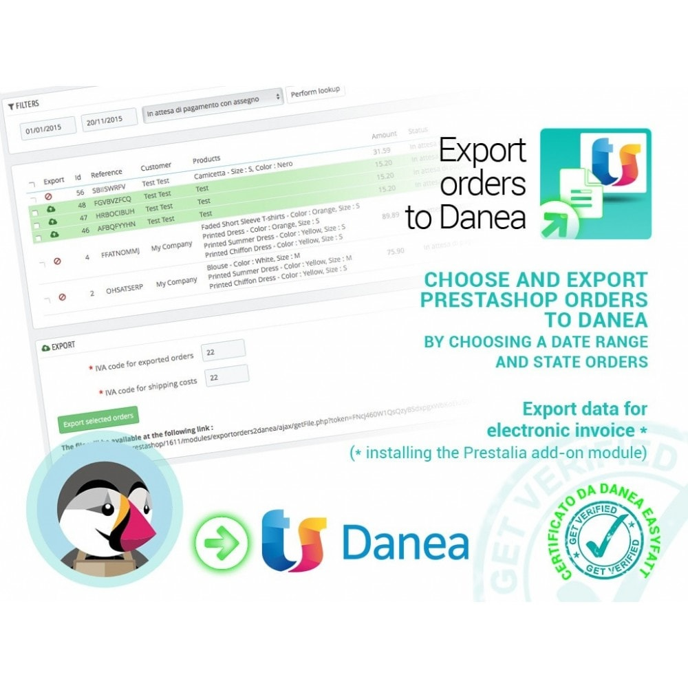 module - Data Integraties (CRM, ERP...) - Export orders to Danea EasyFatt - 1