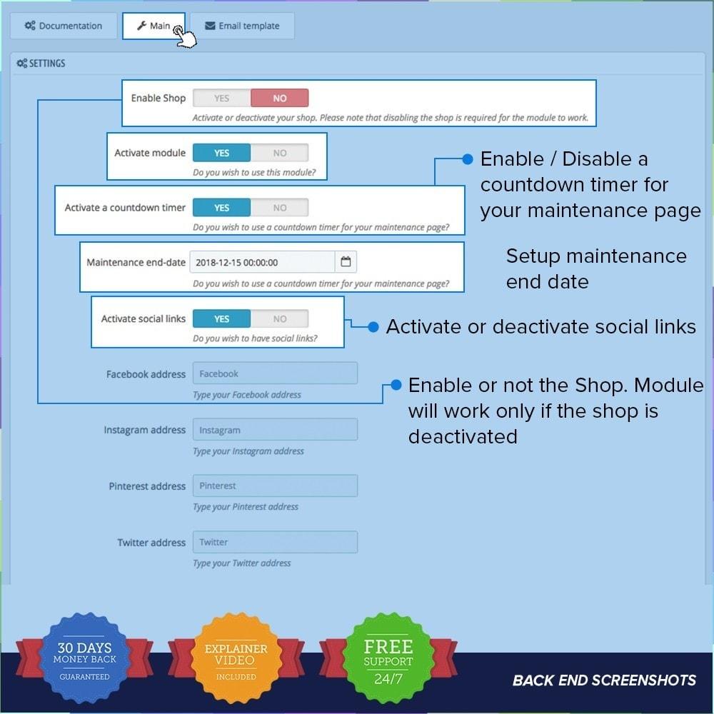 module - Personalización de la página - Página de mantenimiento personalizado - 2