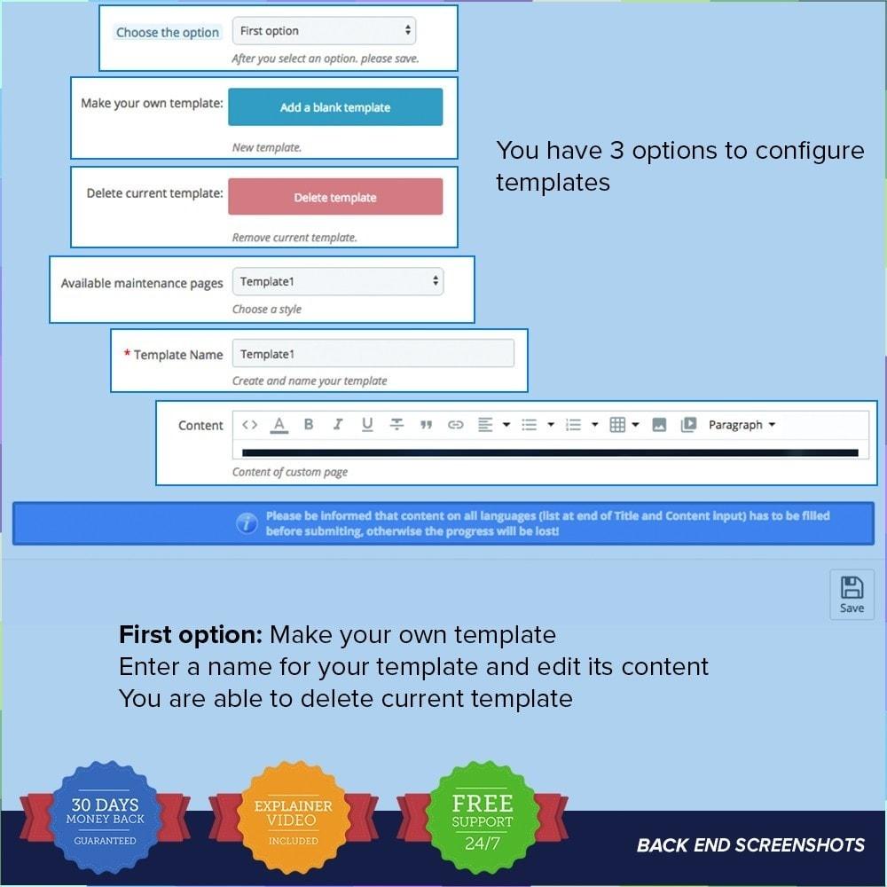 module - Personalización de la página - Página de mantenimiento personalizado - 3