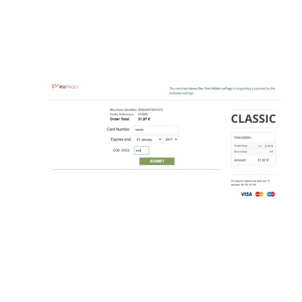 module - Payment by Card or Wallet - euPago - Credit Card - 5