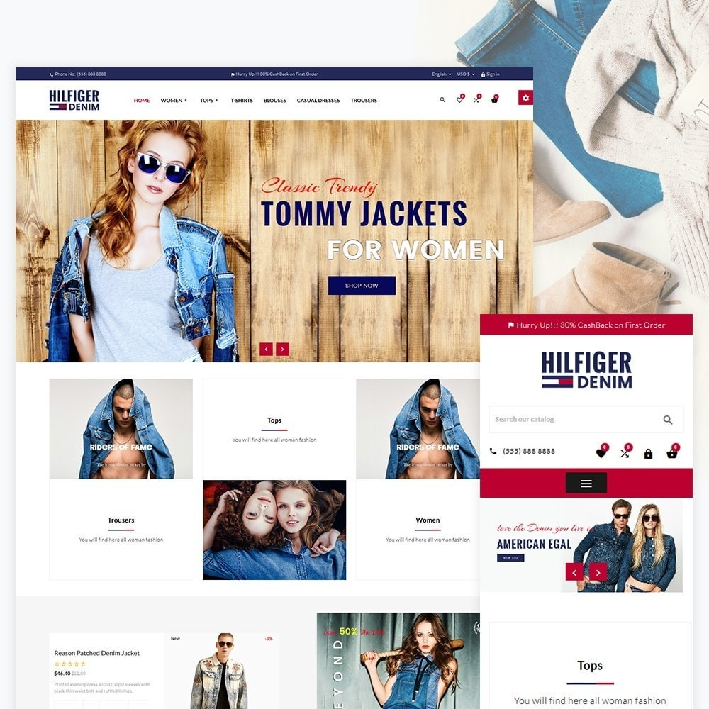 theme - Мода и обувь - Hilfiger Denim  Fashion Cloth Brand Super Store - 2