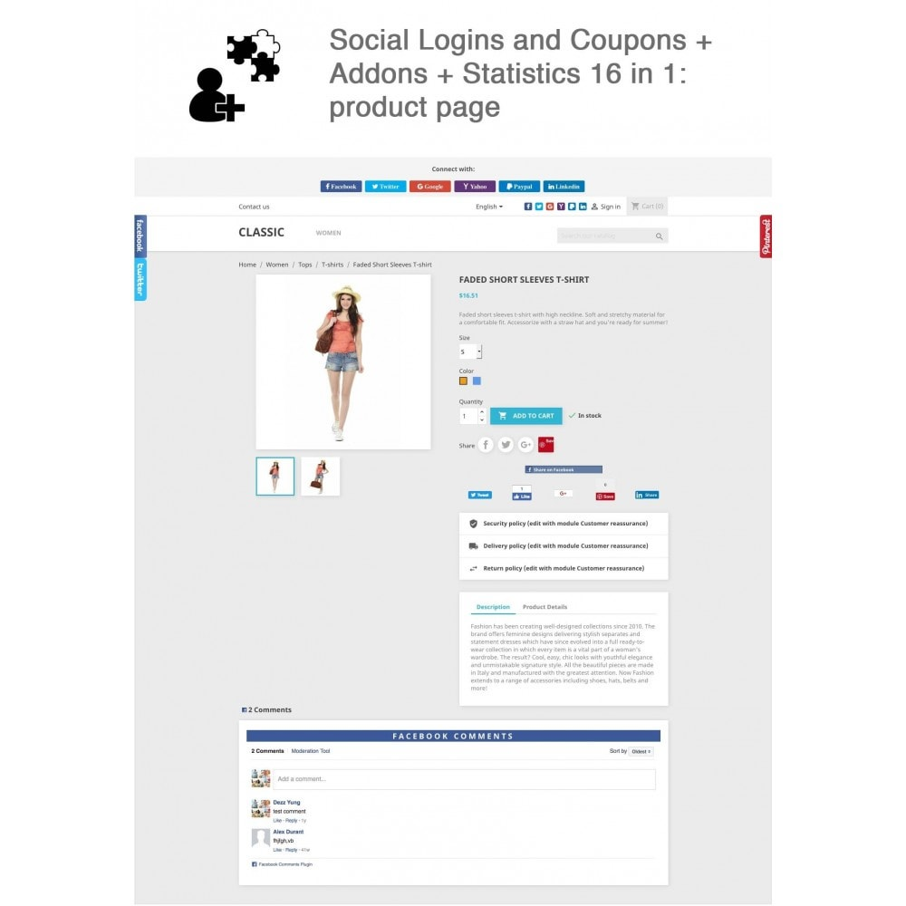 module - Pulsanti di condivisione & Commenti - Social Logins and Coupons + Addons + Statistics 16 in 1 - 1