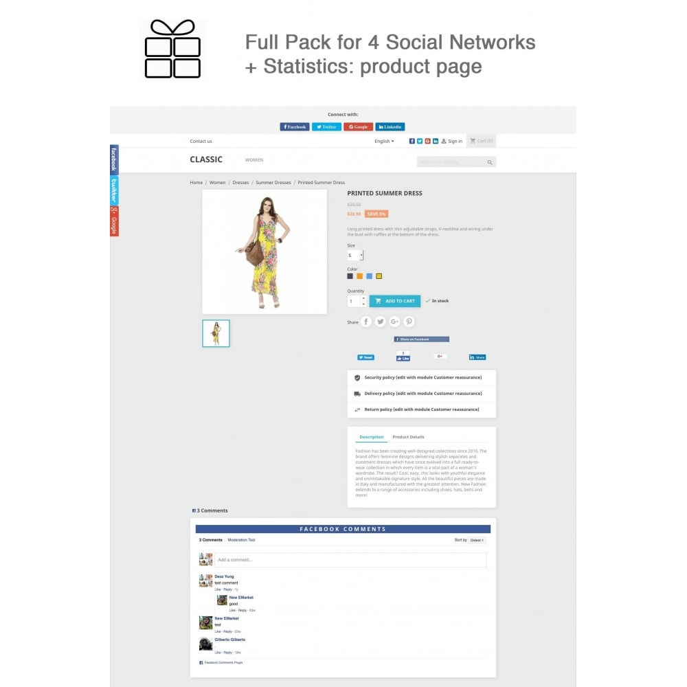 module - Deelknoppen & Commentaren - Full Pack for 4 Social Networks + Statistics - 1