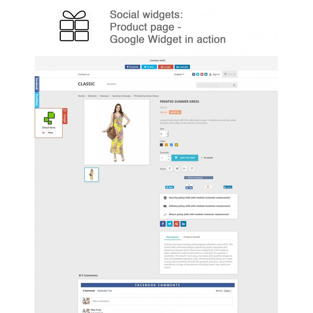 module - Share Buttons & Comments - Full Pack for 4 Social Networks + Statistics - 12