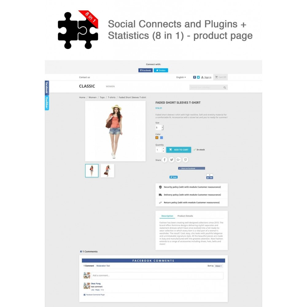 module - Compartir contenidos y Comentarios - Social Connects and Plugins + Statistics (8 in 1) - 1