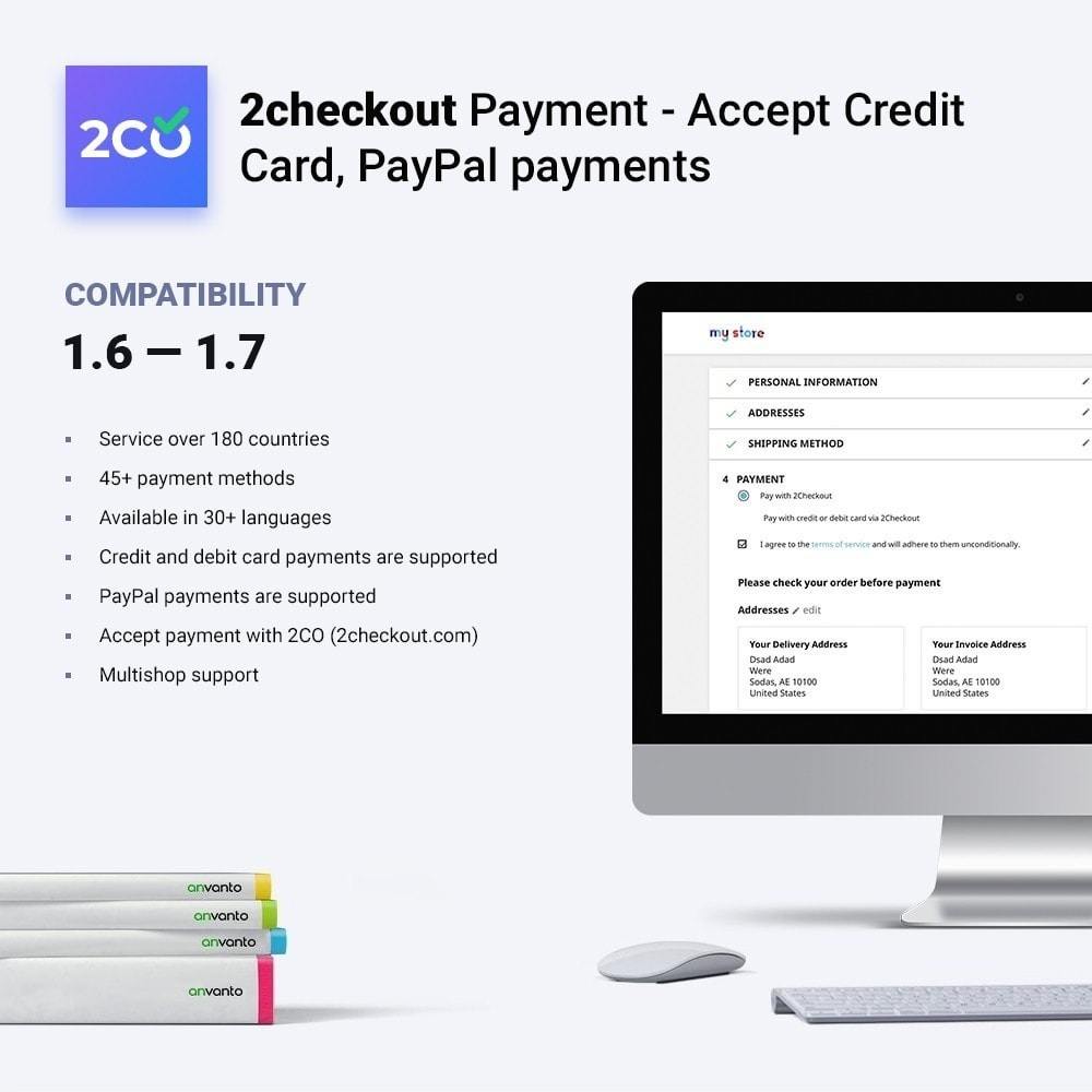 module - Express Checkout Process - 2checkout payment - accept credit card, PayPal payments - 2