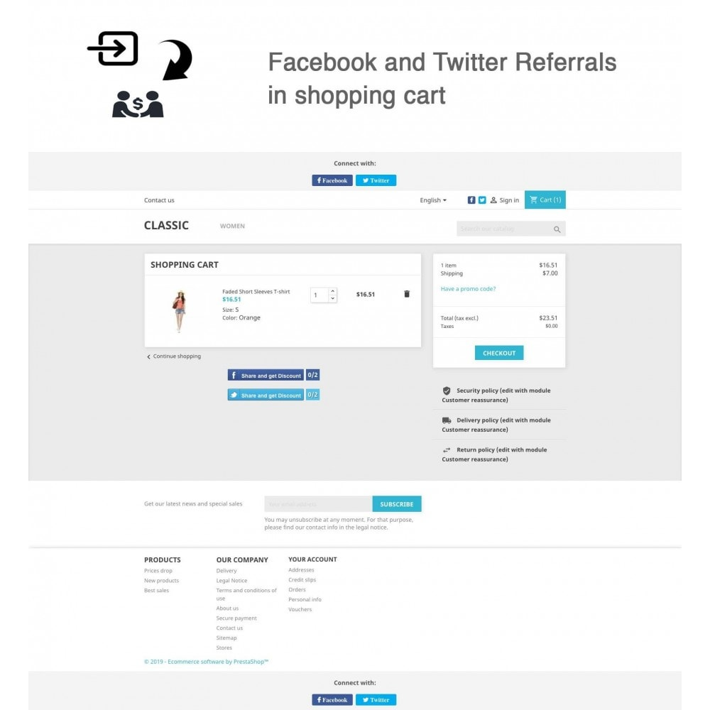 module - Descuentos en redes sociales - Social Referrals + Connects (2 in 1) - 2