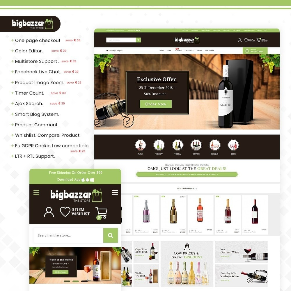 theme - Drink & Tobacco - Bigbazzar wine– Multipurpose Mega Wine Store - 1