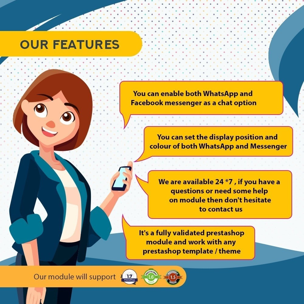 module - Support & Online Chat - Whatsapp and Facebook Messenger Chat Pro - 6